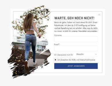 """Exit Intent Pop-Up """"Warte, geh noch nicht!"""" by &Revenue"""