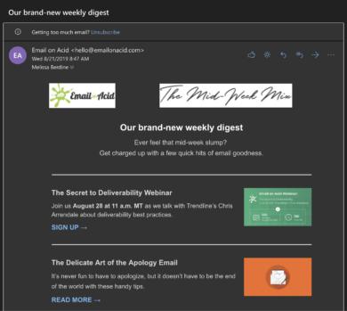 E-Mail Darstellung im Dark Mode