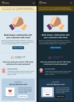 Litmus light mode vs Dark Mode E-Mail Darstellung