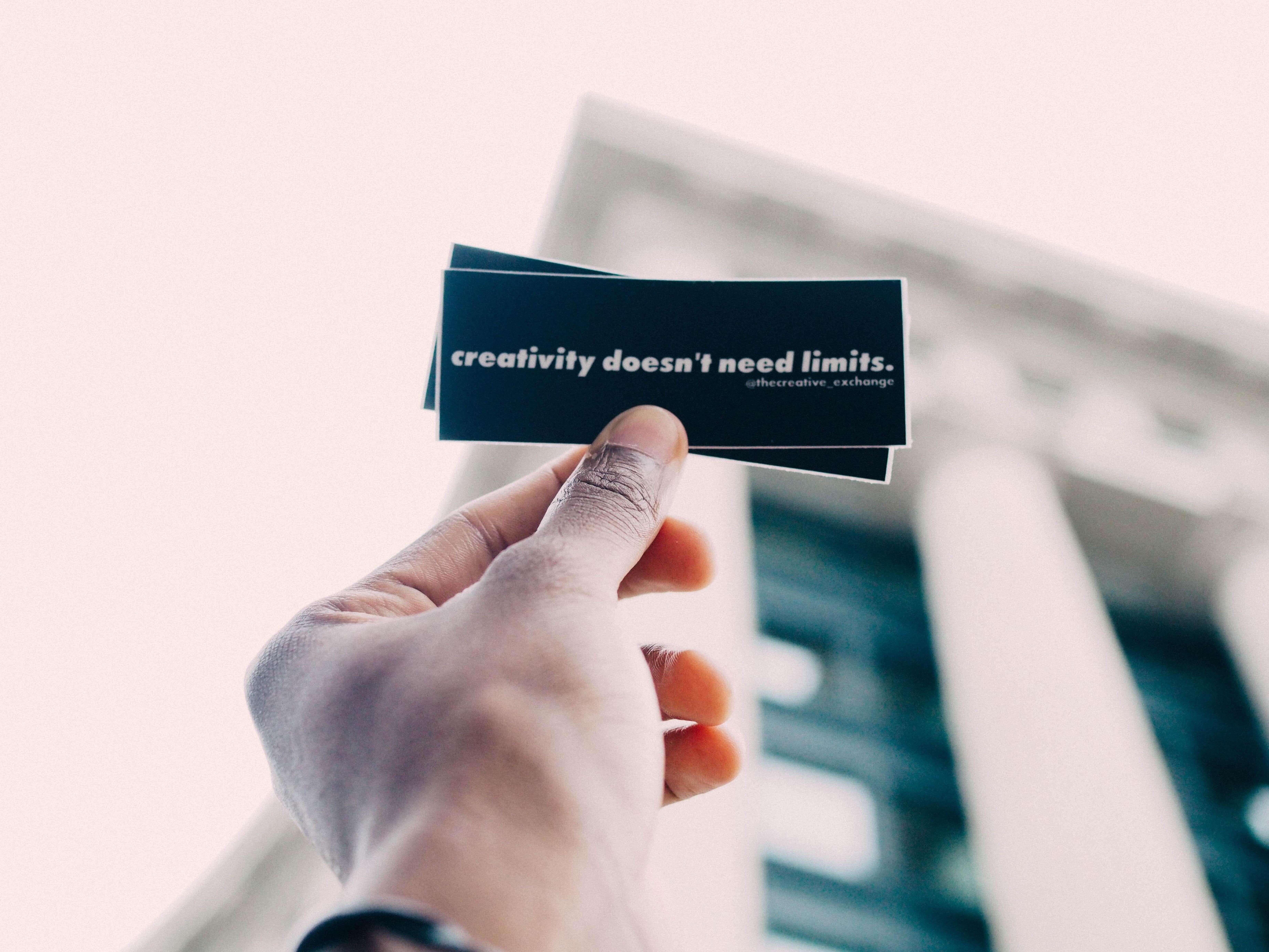 """creativity doesn´t need limits"" Karte"
